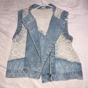 Jean tank top vest with knitted sides